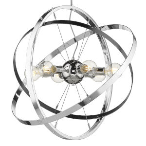 Atom Chrome Six-Light Chandelier