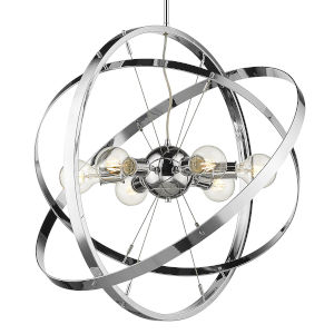 Atom Chrome 28-Inch Six-Light Chandelier