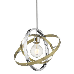 Atom Chrome Aged Brass Silver One-Light Pendant