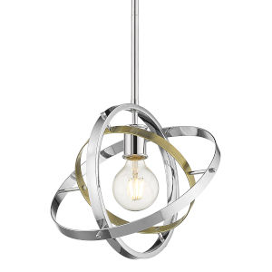 Atom Chrome Aged Brass Silver 12-Inch One-Light Pendant