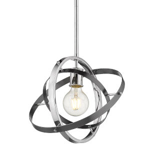 Atom Chrome Brushed Steel Silver 12-Inch One-Light Pendant