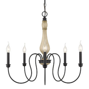 Suzette Natural Black Five-Light Chandelier
