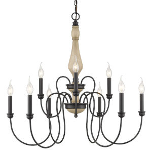 Suzette Natural Black Nine-Light Chandelier