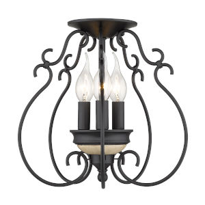 Suzette Natural Black Three-Light Semi Flush Mount