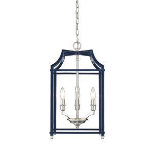Leighton Pewter and Navy 12-Inch Three-Light Lantern Pendant