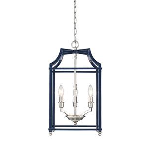 Leighton Pewter and Navy 12-Inch Three-Light Lantern Pendant