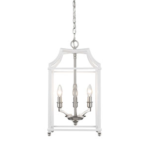 Leighton Pewter and White 12-Inch Three-Light Lantern Pendant