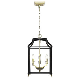 Leighton Satin Brass and Black 12-Inch Three-Light Lantern Pendant