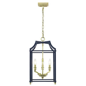 Leighton Satin Brass and Navy 12-Inch Three-Light Lantern Pendant