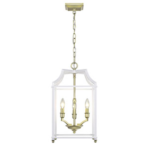 Leighton Satin Brass and White 12-Inch Three-Light Lantern Pendant