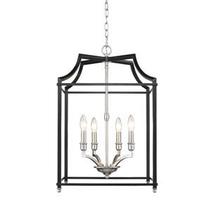 Leighton Pewter and Black 17-Inch Four-Light Lantern Pendant