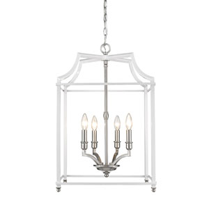 Leighton Pewter and White 17-Inch Four-Light Lantern Pendant