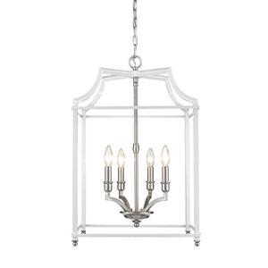 Leighton Pewter and White 17-Inch Four-Light Lantern Pendant