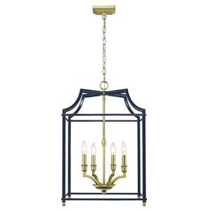 Leighton Satin Brass and Navy 17-Inch Four-Light Lantern Pendant