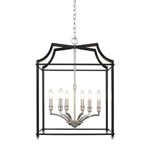 Leighton Pewter and Black 21-Inch Six-Light Lantern Pendant