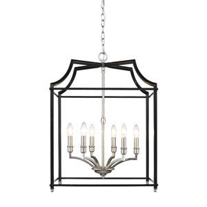 Leighton Pewter and Black 21-Inch Six-Light Lantern Pendant