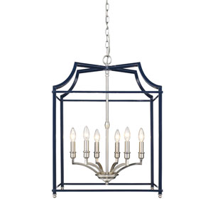 Leighton Pewter and Navy 21-Inch Six-Light Lantern Pendant