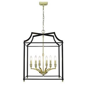 Leighton Satin Brass and Black 21-Inch Six-Light Lantern Pendant