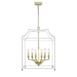 Leighton Satin Brass and White 21-Inch Six-Light Lantern Pendant