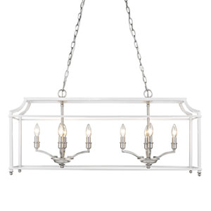 Leighton Pewter and White Eight-Light Linear Pendant