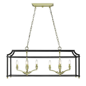 Leighton Satin Brass and Black Eight-Light Linear Pendant