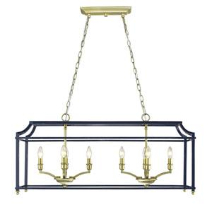 Leighton Satin Brass and Navy Eight-Light Linear Pendant