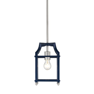 Leighton Pewter and Navy Lantern Mini Pendant