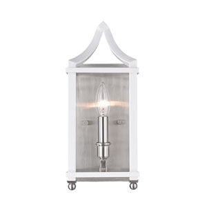 Leighton Pewter and White Wall Sconce