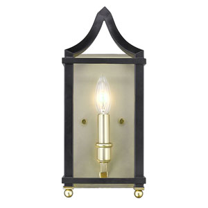 Leighton Satin Brass and Black Wall Sconce