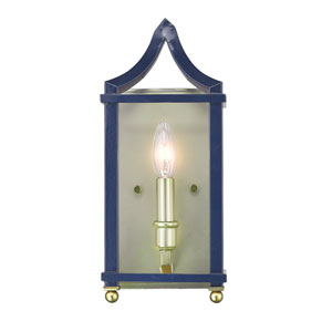 Leighton Satin Brass and Navy Wall Sconce