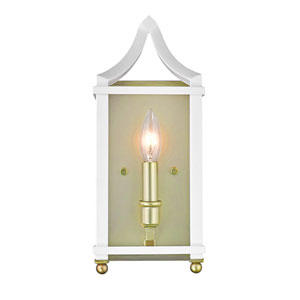 Leighton Satin Brass and White Wall Sconce
