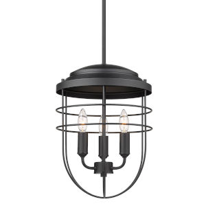 Seaport Matte Black 12-Inch Three-Light Pendant