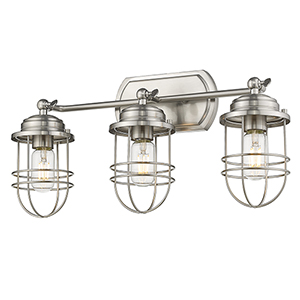 Seaport Pewter Three-Light Bath Vanity