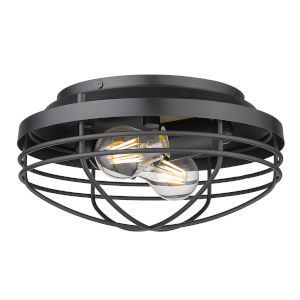 Seaport Matte Black 12-Inch Two-Light Flush Mount