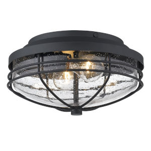 Seaport Natural Black Two-Light Outdoor Flush Mount