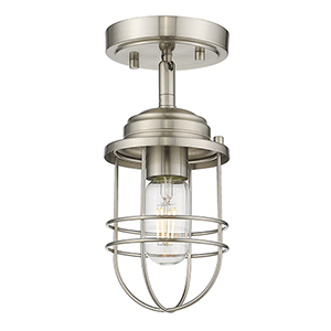 Seaport Pewter One-Light Semi-Flush Mount