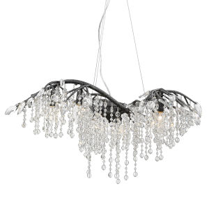 Autumn Twilight Black Iron 31-Inch Six-Light Chandelier