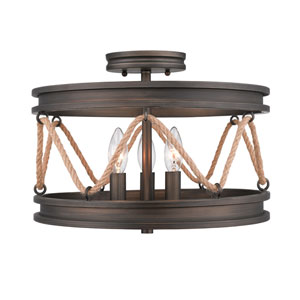 Chatham Gunmetal Bronze Three-Light Semi Flush Mount