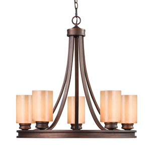 Hidalgo Sovereign Bronze Five-Light Chandelier with Regal Glass