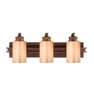Hidalgo Sovereign Bronze Three-Light Bath Fixture with Regal Glass