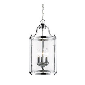 Payton Chrome Three-Light Pendant with Clear Glass