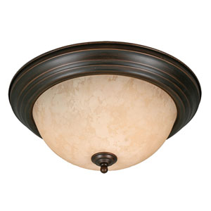 Multi-Family Rubbed Bronze Two Light Flush Mount with Tea Stone Glass