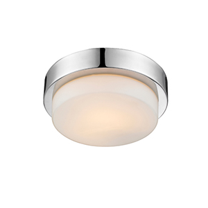 Multi-Family Chrome One Light Flush Mount