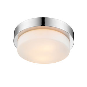 Multi-Family Chrome 11-Inch Two-Light Flush Mount