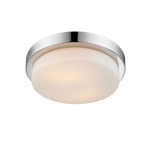 Multi-Family Chrome 13-Inch Two-Light Flush Mount