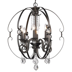 Ella Brushed Etruscan Bronze Six-Light Chandelier
