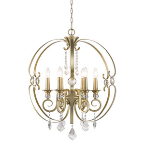 Ella White Gold Six-Light Chandelier