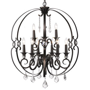 Ella Brushed Etruscan Bronze Nine-Light Chandelier