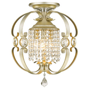 Ella White Gold Three-Light Semi-Flush Mount