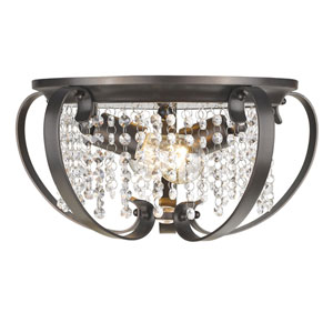 Ella Brushed Etruscan Bronze Two-Light Flush Mount